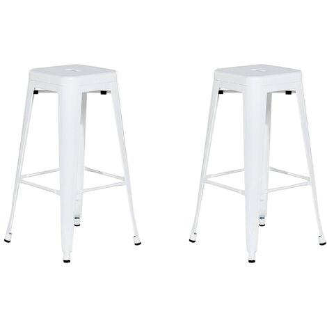 Set of 2 Bar Stools 76 cm White CABRILLO