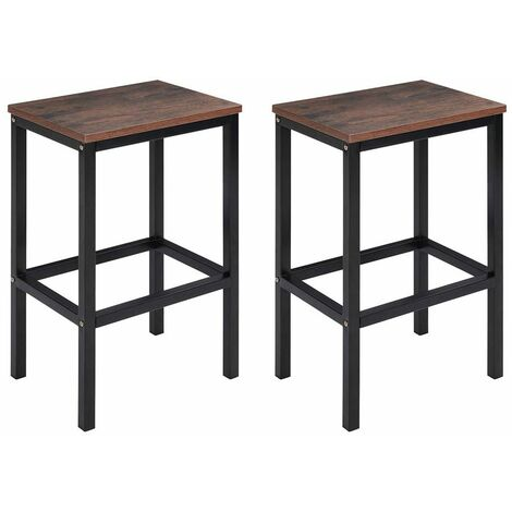 Set of 2 Bar Stools Kitchen Breakfast Chairs Seat Barstools Industrial Wooden