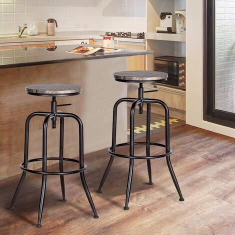 Set of 2 Bar Stools Vintage Height Adjustable Industrial Bistro Pub Kitchen Counter Bar Stool Chair Brown