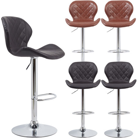 Set Of 2 Bar Stools Vintage PU Leather Tub Seats Padded Steel Frame 360 Degree Swivel - Different colours