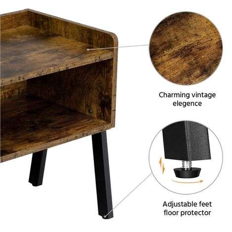 Set of 2 Bedside Table Industrial Nightstand Stackable End Table with Open Front Storage Compartment Retro Rustic Chic Wood Look Accent Furniture with Metal Legs Rustic Brown
