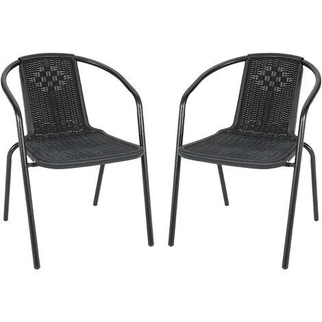Set of 2 Black Garden Patio Metal Wicker Chairs
