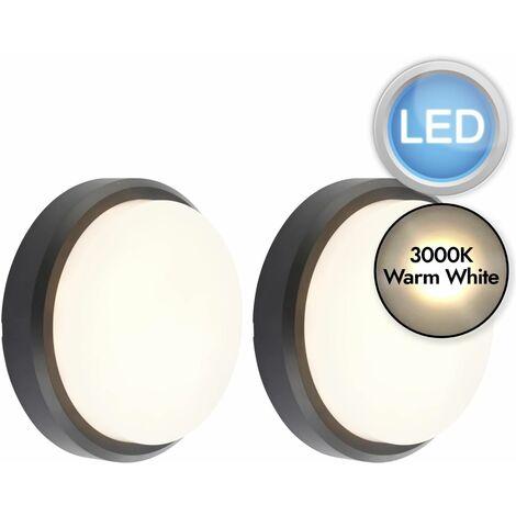 Set of 2 Black Round LED Outdoor Lights