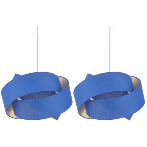 Set of 2 Blue Layered Twist Ceiling Light Shades
