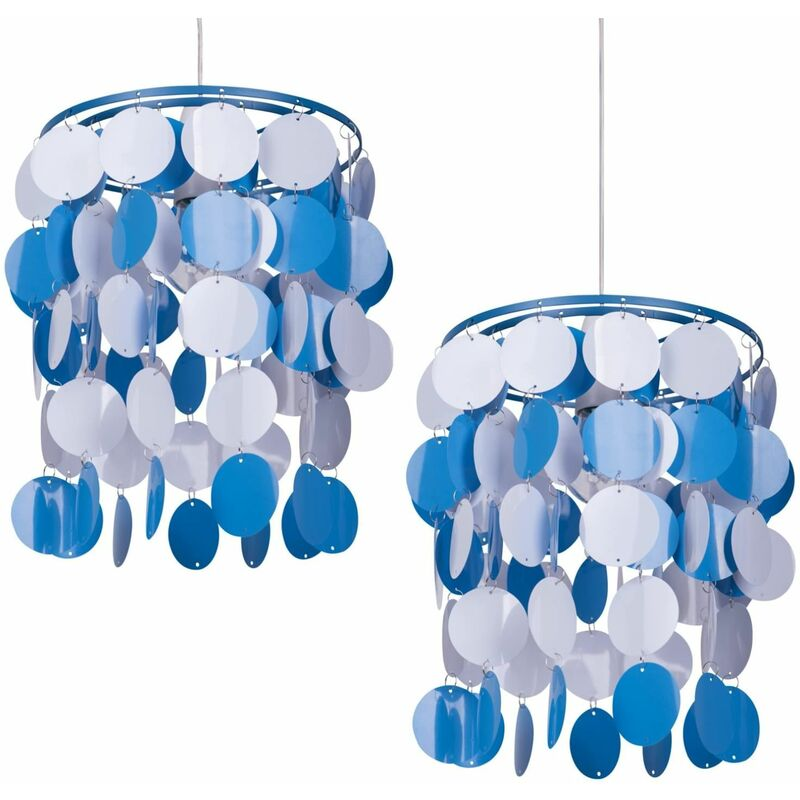 Image of 2 x Blue and White Easy Fit Light Shade - FIRST CHOICE LIGHTING