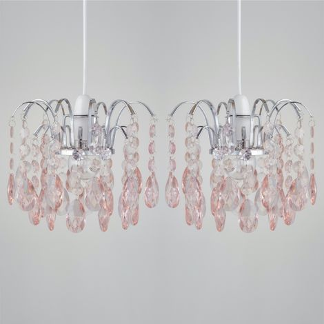 Set of 2 Blush Pink Acrylic Jewelled Waterfall Easy Fit Light Shades