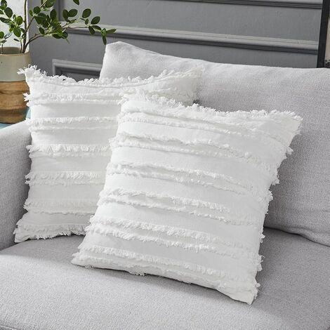 Set of 2 Boho Cushion Cover Cotton Linen Striped Jacquard Pattern Throw Pillow Case Decorative Cushion Cover for Chair Car Sofa and Bed Living Room (White, 45cmx45cm)