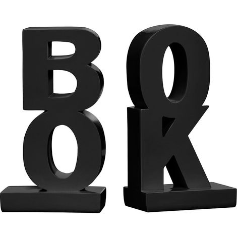Set of 2 bookends,polyresin,black high gloss