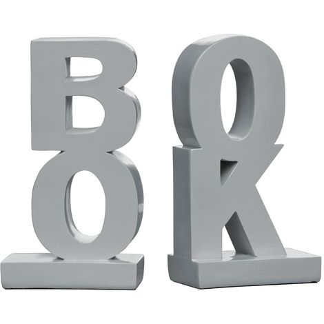 Set of 2 bookends,polyresin,grey high gloss