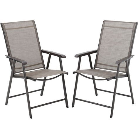 Set of 2 Brown Garden Patio Folding Chairs