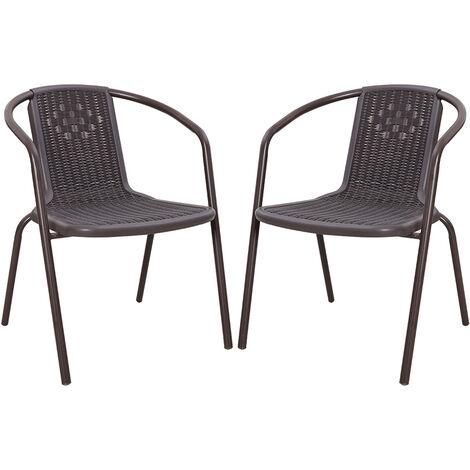 Set of 2 Brown Garden Patio Metal Wicker Chairs
