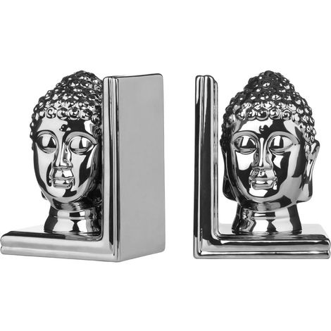 Set of 2 Buddha Head Bookends,Silver Ceramic