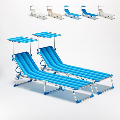 Set of 2 CALIFORNIA Adjustable Outdoor Sun Loungers With Sunshade