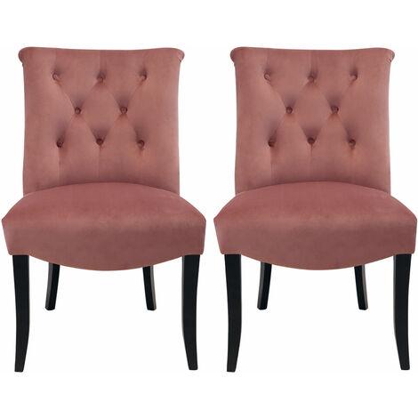 Set of 2 Chesterfield Crush Velvet Dining Chairs
