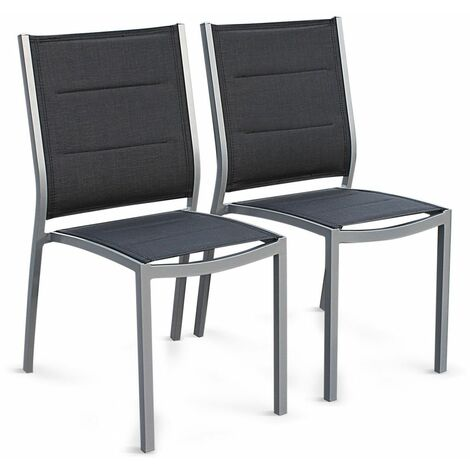 Set of 2 Chicago/Philadelphia stacking chairs in grey aluminium and textilene
