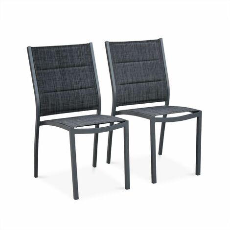 Set of 2 Chicago stacking chairs in dark grey aluminium and dark mixed grey textilene