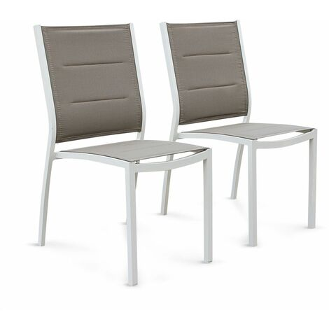 Set of 2 Chicago stacking chairs in white aluminium and beige-brown textilene