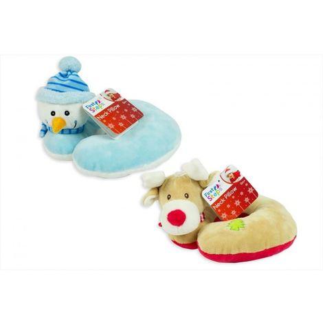 Set Of 2 Christmas Baby Neck Support Pillows Snowman Reindeer Travel Pillow