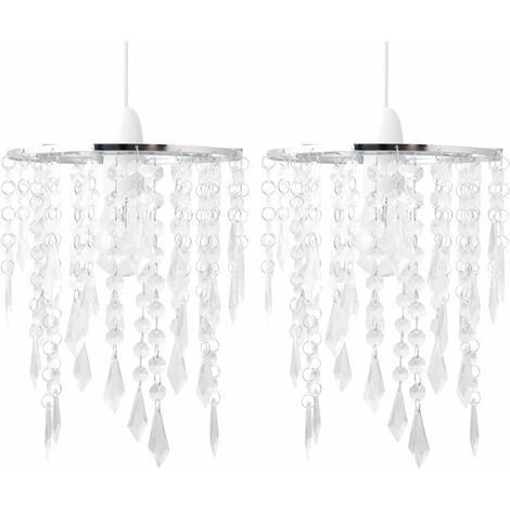 Set of 2 Chrome & Clear Jewels Light Shades