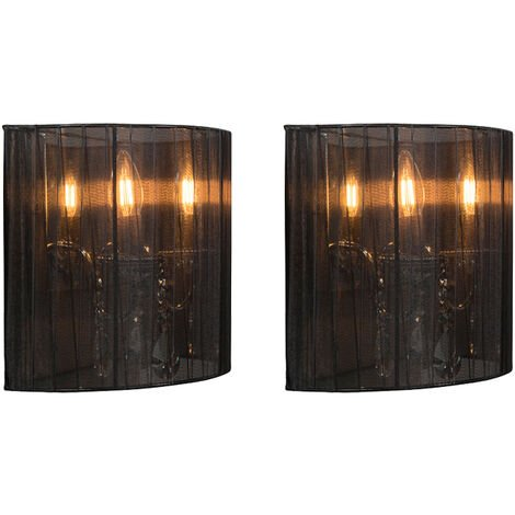 Set of 2 chrome wall lamps with black shade - Ann-Kathrin 2