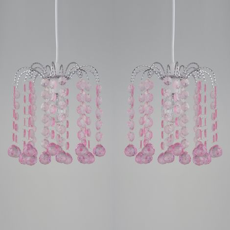 Set of 2 Clear and Pink Acrylic Jewelled Easy Fit Light Shades