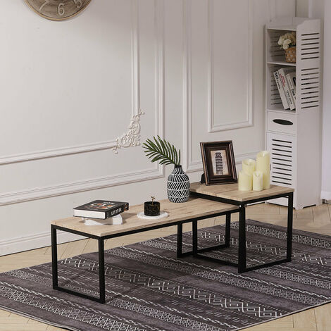 Set of 2 Coffee Tables Side Table Industrial Wooden Top Metal Frame Furniture
