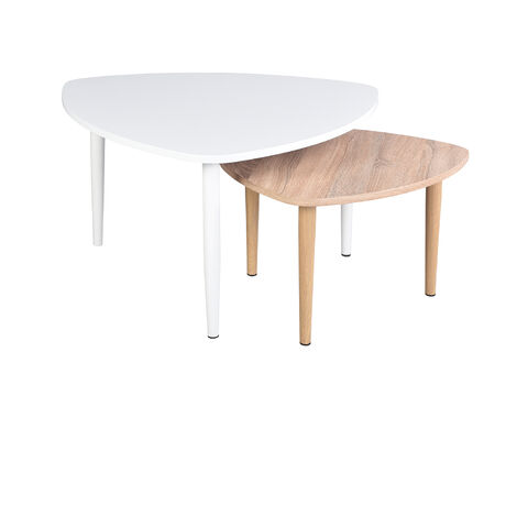 Set of 2 coffee tables with MDF table, coffee table with wooden base, telephone table color: white and natural wood, 80 * 80 * 45cm, 60 * 60 * 37cm