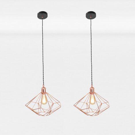 Set of 2 Copper Geometric Pendant Light Fittings