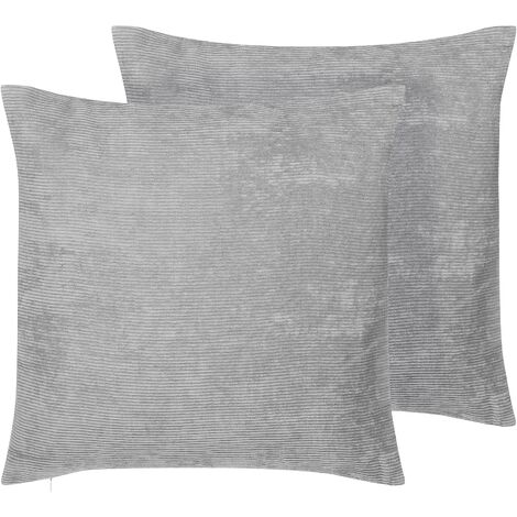 Set of 2 Cord Scatter Cushions Grey Accent Throw Pillows 45 x 45 cm Nolana