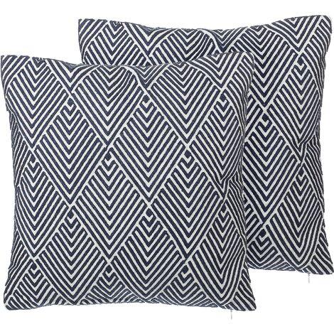 Set of 2 Cotton Throw Pillows Blue White Geometric Pattern Cushion 45 x 45 cm Mazus