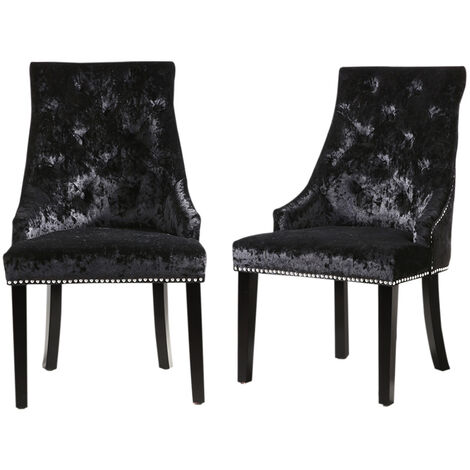 """main image of """"Set of 2 Crushed Velvet Buttoned Dining Chairs"""""""