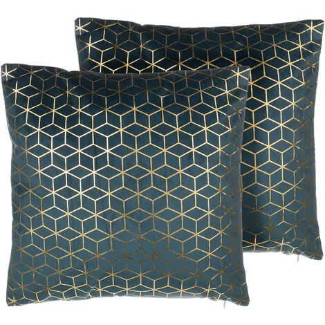 Set of 2 Cushions Blue Velvet Geometric Pattern Metallic 45 x 45 cm Celosia