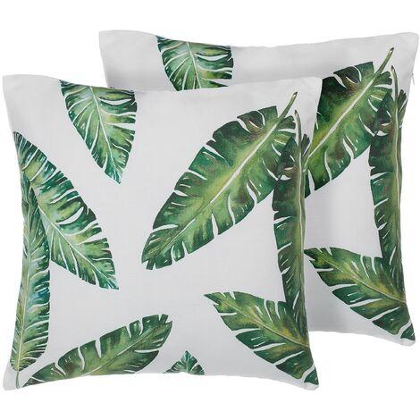 Set of 2 Decorative Pillow Cushions Cases Plant Leaf Print 45 x 45 cm Dianella