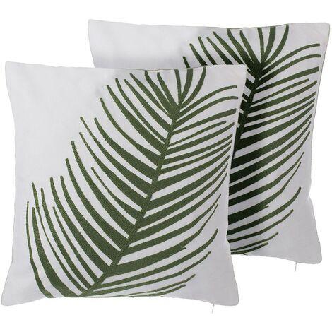 Set of 2 Decorative Throw Cushions Cotton White Green Leaf Motif 45 x 45 cm Azami