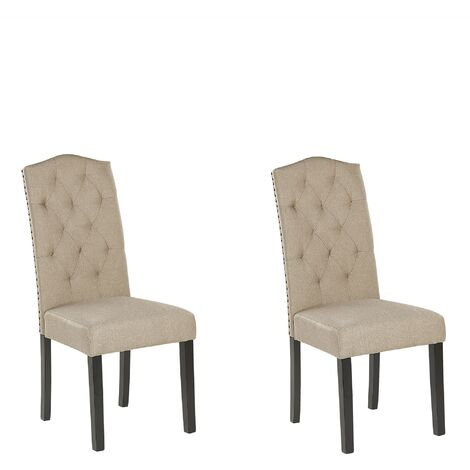 Set of 2 Dining Chairs Beige SHIRLEY