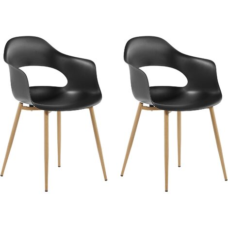 Set of 2 Dining Chairs Black UTICA