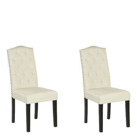 Set of 2 Dining Chairs Creme SHIRLEY