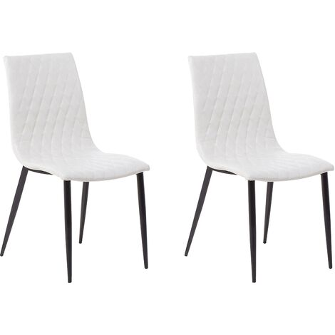 Set of 2 Dining Chairs Faux Leather Cream MONTANA
