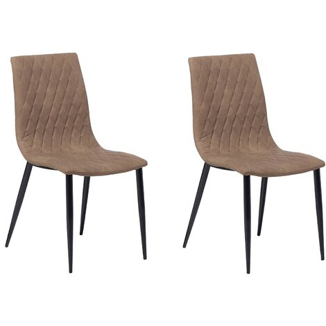 Set of 2 Dining Chairs Faux Leather Light Brown MONTANA