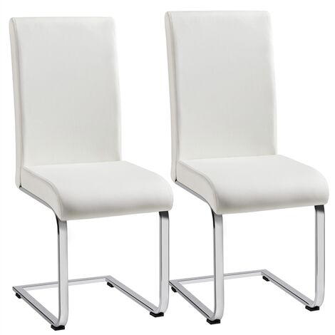 Set of 2 Dining Chairs Modern Faux PU Leather High Back & Chrome Legs Home/Kitchen/Cafe White