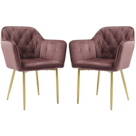 """main image of """"Set of 2 Dining Chairs Velvet Padded Seat Metal Legs Kitchen Chair, Grey"""""""