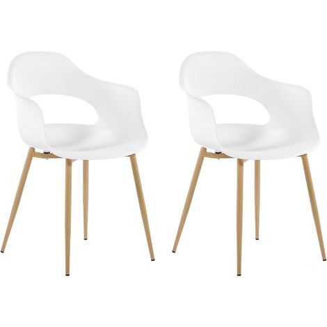 Set of 2 Dining Chairs White UTICA