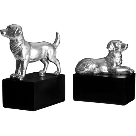 Set of 2 dog bookends,polyresin,silver / black