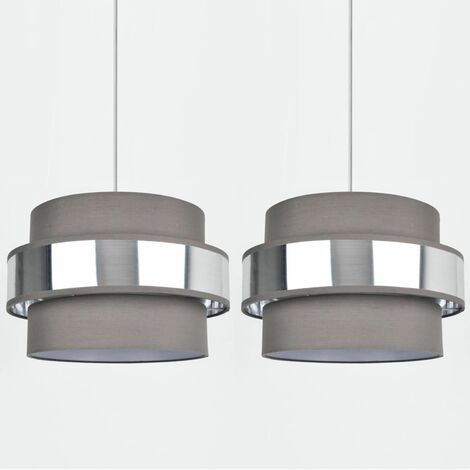 """main image of """"Easy Fit 2 Tier Grey Fabric Brushed Silver or Copper Plated Ceiling Shade"""""""