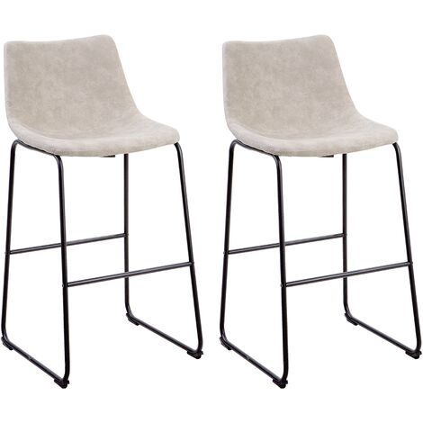 Set of 2 Fabric Bar Chairs Beige FRANKS
