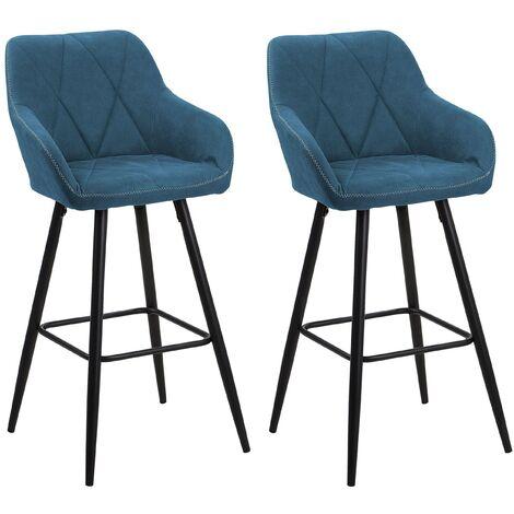 Set of 2 Fabric Bar Chairs Blue DARIEN