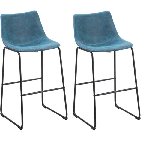 Set of 2 Fabric Bar Chairs Blue FRANKS