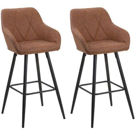 Set of 2 Fabric Bar Chairs Brown DARIEN