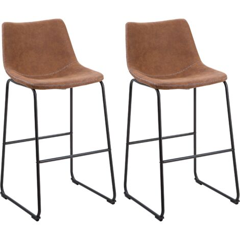 Set of 2 Fabric Bar Chairs Brown FRANKS
