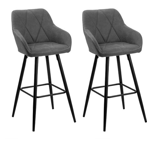 Set of 2 Fabric Bar Chairs Grey DARIEN